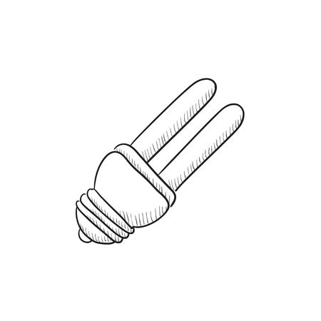 bombillo ahorrador: Energy saving light bulb vector sketch icon isolated on background. Hand drawn Energy saving light bulb icon. Energy saving light bulb sketch icon for infographic, website or app. Vectores