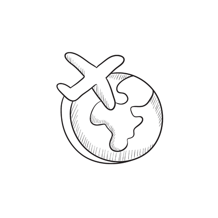 Airplane flying around the world vector sketch icon isolated on background. Hand drawn Airplane flying around the world icon. Airplane flying around world sketch icon for infographic, website or app. Vettoriali