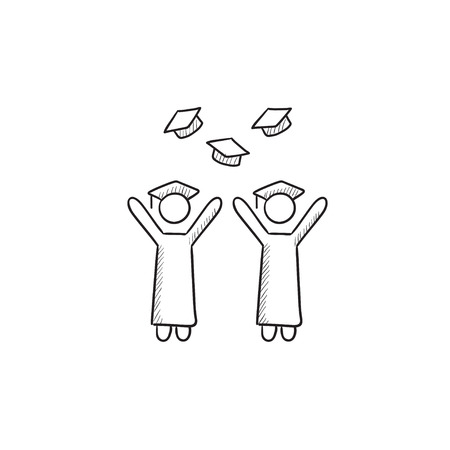 throwing: Graduates throwing caps vector sketch icon isolated on background. Hand drawn Graduates throwing caps icon. Graduates throwing caps sketch icon for infographic, website or app.
