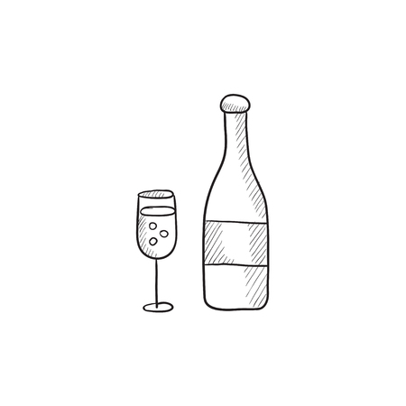 champaign: Bottle of champaign and glass vector sketch icon isolated on background. Hand drawn Bottle of champaign and glass icon. Bottle of champaign and glass sketch icon for infographic, website or app.