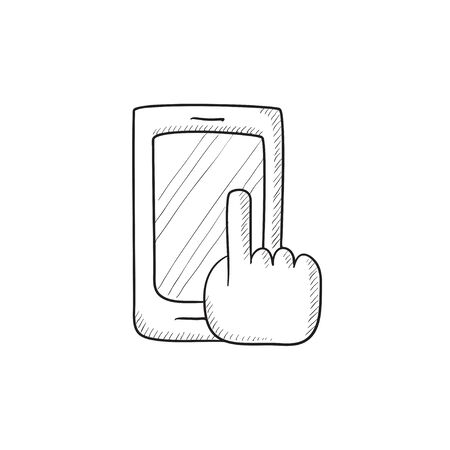 smart phone hand: Finger pointing at smart phone vector sketch icon isolated on background. Hand drawn Finger pointing at smart phone icon. Finger pointing at smart phone sketch icon for infographic, website or app. Illustration