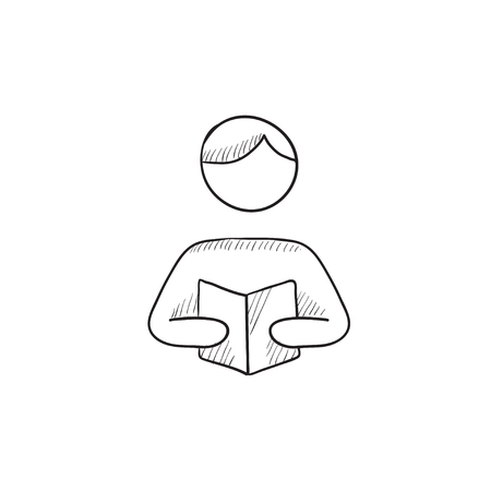 classbook: Man reading book vector sketch icon isolated on background. Hand drawn Man reading book icon. Man reading book sketch icon for infographic, website or app.