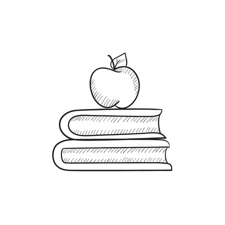 classbook: Books and apple on top vector sketch icon isolated on background. Hand drawn Books and apple on top icon. Books and apple on top sketch icon for infographic, website or app.