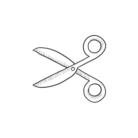 scissors icon: Scissors vector sketch icon isolated on background. Hand drawn Scissors icon. Scissors sketch icon for infographic, website or app.