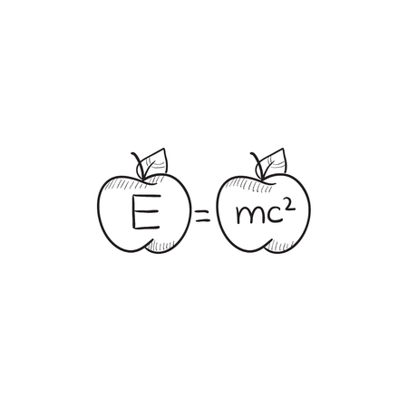 mc2: Two apples with formulae vector sketch icon isolated on background. Hand drawn Two apples with formulae icon. Two apples with formulae sketch icon for infographic, website or app.