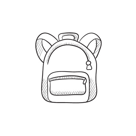 1 school bag: Backpack vector sketch icon isolated on background. Hand drawn Backpack icon. Backpack sketch icon for infographic, website or app. Illustration
