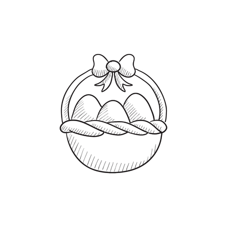 gift basket: Basket full of easter eggs vector sketch icon isolated on background. Hand drawn Basket full of easter eggs icon. Basket full of easter eggs sketch icon for infographic, website or app.