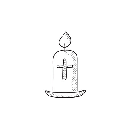 Easter candle vector sketch icon isolated on background. Hand drawn Easter candle icon. Easter candle sketch icon for infographic, website or app. Illusztráció
