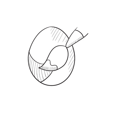 Painting of easter eggs vector sketch icon isolated on background. Hand drawn Painting of easter eggs icon. Painting of easter eggs sketch icon for infographic, website or app. Illustration