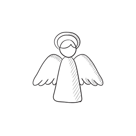 Easter angel vector schets pictogram op een achtergrond. Hand getekende Pasen engel icoon. Pasen engel schets pictogram voor infographic, website of app.