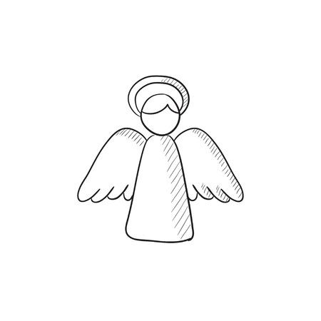 イースター天使ベクター スケッチ アイコンの背景に分離されました。手には、イースター天使アイコンが描画されます。イースターの天使は、インフォ グラフィック、web サイトまたはアプリケーションのアイコンをスケッチします。