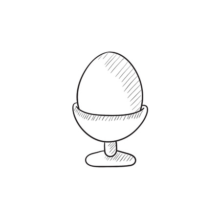Easter egg in stand vector sketch icon isolated on background. Hand drawn Easter egg in stand icon. Easter egg in stand sketch icon for infographic, website or app.