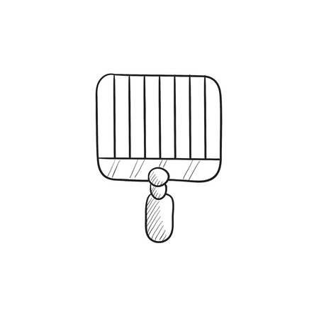 grate: Empty barbecue grill grate vector sketch icon isolated on background. Hand drawn Empty barbecue grill grate icon. Empty barbecue grill grate sketch icon for infographic, website or app.