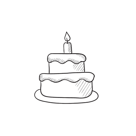 an easter cake: Easter cake with candle vector sketch icon isolated on background. Hand drawn Easter cake with candle icon. Easter cake with candle sketch icon for infographic, website or app.