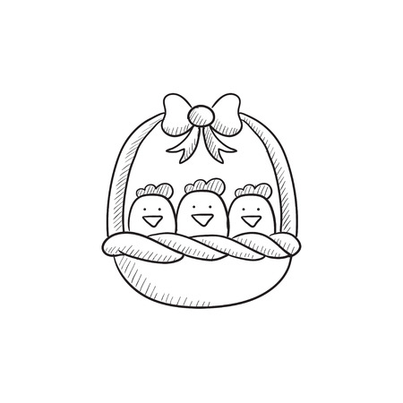chicks: Basket full of easter chicks vector sketch icon isolated on background. Hand drawn Basket full of easter chicks icon. Basket full of easter chicks sketch icon for infographic, website or app. Illustration