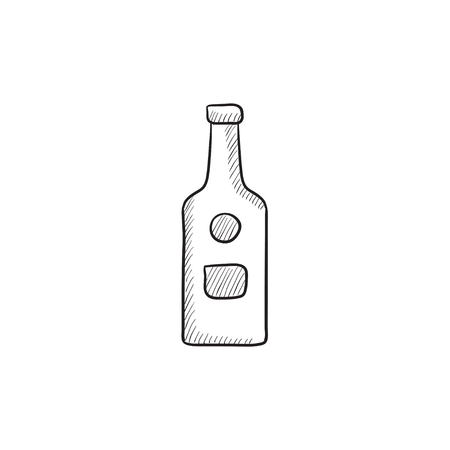 bourbon whisky: Glass bottle vector sketch icon isolated on background. Hand drawn Glass bottle icon. Glass bottle sketch icon for infographic, website or app.