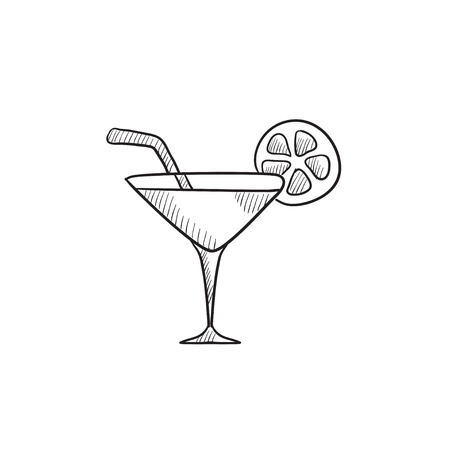 Cocktail glass vector sketch icon isolated on background. Hand drawn Cocktail glass icon. Cocktail glass sketch icon for infographic, website or app. Vettoriali