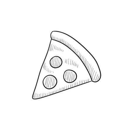 Pizza slice vector sketch icon isolated on background. Hand drawn Pizza slice icon. Pizza slice sketch icon for infographic, website or app. Illusztráció