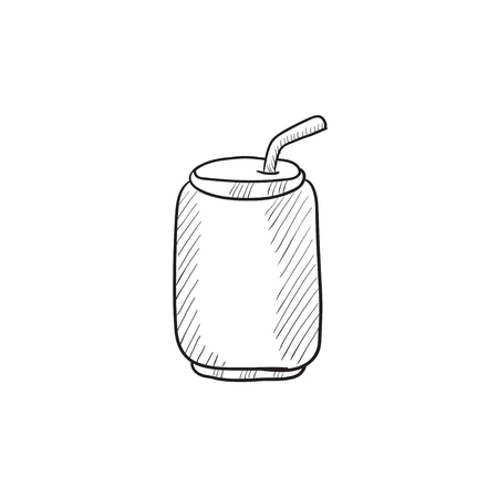 drinking straw: Soda can with drinking straw vector sketch icon isolated on background. Hand drawn Soda can with drinking straw icon. Soda can with drinking straw sketch icon for infographic, website or app.