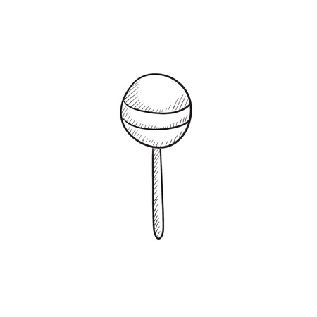 goody: Round lollipop vector sketch icon isolated on background. Hand drawn Round lollipop icon. Round lollipop sketch icon for infographic, website or app.
