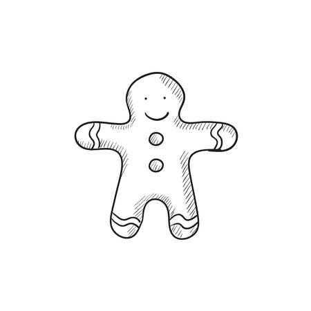 Gingerbread man vector sketch icon isolated on background. Hand drawn Gingerbread man icon. Gingerbread man sketch icon for infographic, website or app. 向量圖像