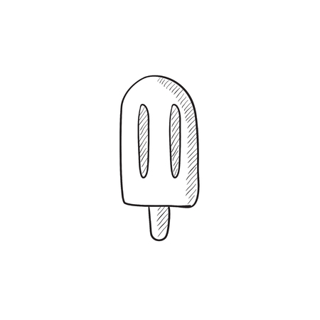 popsicle: Popsicle vector sketch icon isolated on background. Hand drawn Popsicle icon. Popsicle sketch icon for infographic, website or app.