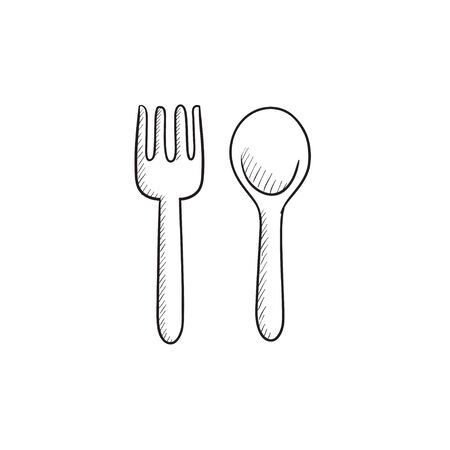 meat chopper: Spoon and fork vector sketch icon isolated on background. Hand drawn Spoon and fork icon. Spoon and fork sketch icon for infographic, website or app.