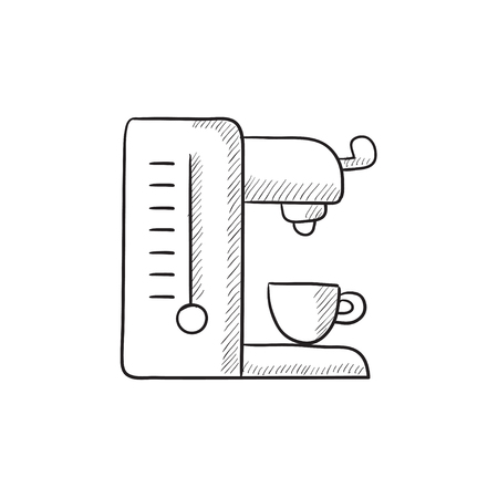 Coffee maker vector sketch icon isolated on background. Hand drawn Coffee maker icon. Coffee maker sketch icon for infographic, website or app.
