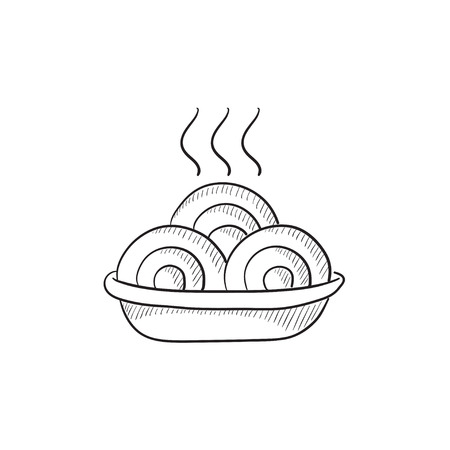 ration: Hot meal in plate vector sketch icon isolated on background. Hand drawn Hot meal in plate icon. Hot meal in plate sketch icon for infographic, website or app.