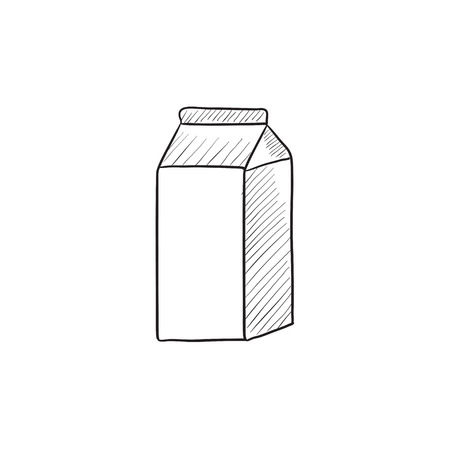 packaged: Packaged dairy product vector sketch icon isolated on background. Hand drawn Packaged dairy product icon. Packaged dairy product sketch icon for infographic, website or app.