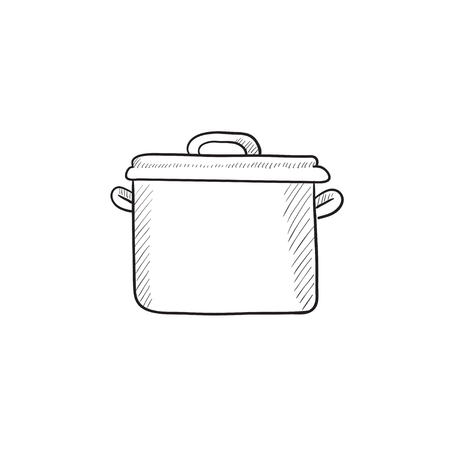 saucepan: Saucepan vector sketch icon isolated on background. Hand drawn Saucepan icon. Saucepan sketch icon for infographic, website or app. Illustration