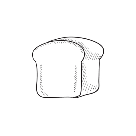 wholemeal: Half of bread vector sketch icon isolated on background. Hand drawn Half of bread icon. Half of bread sketch icon for infographic, website or app.