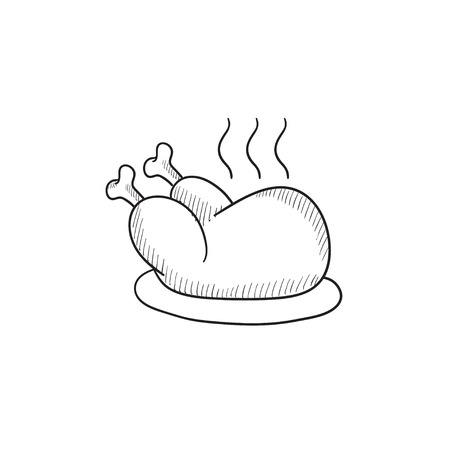 Baked whole chicken vector sketch icon isolated on background. Hand drawn Baked whole chicken icon. Baked whole chicken sketch icon for infographic, website or app.