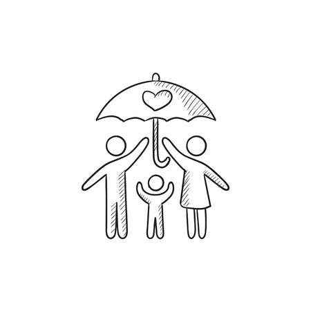seguro familiar dibujo icono del vector aislado en el fondo. Dibujado a mano icono de seguro de la familia. Familia dibujo icono de un seguro para infografía, sitio web o aplicación.