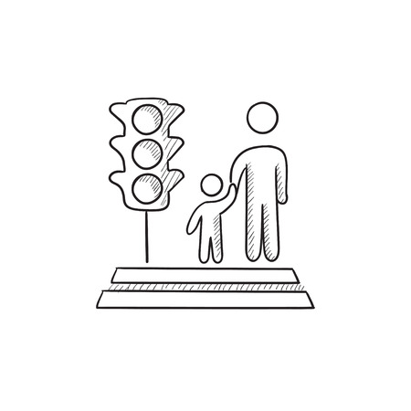 crossing street: Parent and child crossing street vector sketch icon isolated on background. Hand drawn Parent and child crossing street icon. Parent and child crossing street icon for infographic, website or app. Illustration