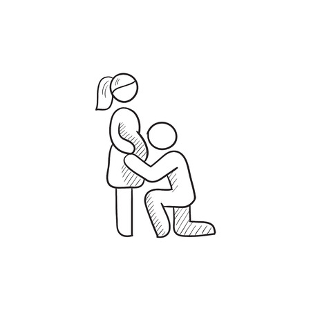 wife: Man with pregnant wife vector sketch icon isolated on background. Hand drawn Man with pregnant wife icon. Man with pregnant wife sketch icon for infographic, website or app. Illustration
