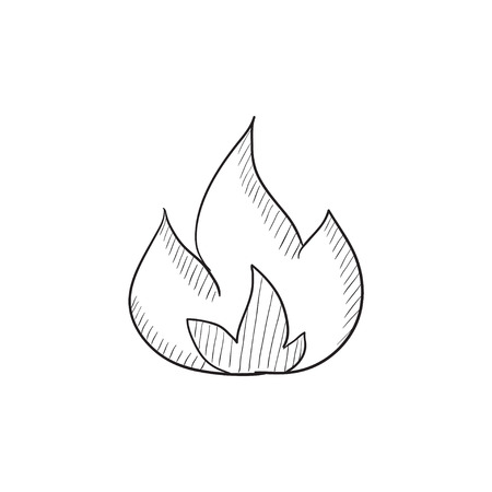 Fire vector sketch icon isolated on background. Hand drawn Fire icon. Fire sketch icon for infographic, website or app. Ilustração