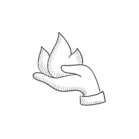 Hand holding fire vector sketch icon isolated on background. Hand drawn Hand holding fire icon. Hand holding fire sketch icon for infographic, website or app.