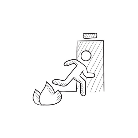 going away: Emergency fire exit door vector sketch icon isolated on background. Hand drawn Emergency fire exit door icon. Emergency fire exit door sketch icon for infographic, website or app.