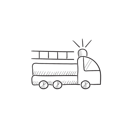 hand truck: Fire truck vector sketch icon isolated on background. Hand drawn Fire truck icon. Fire truck sketch icon for infographic, website or app.