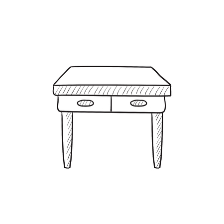 one bedroom: Table with drawers vector sketch icon isolated on background. Hand drawn Table with drawers icon. Table with drawers sketch icon for infographic, website or app.