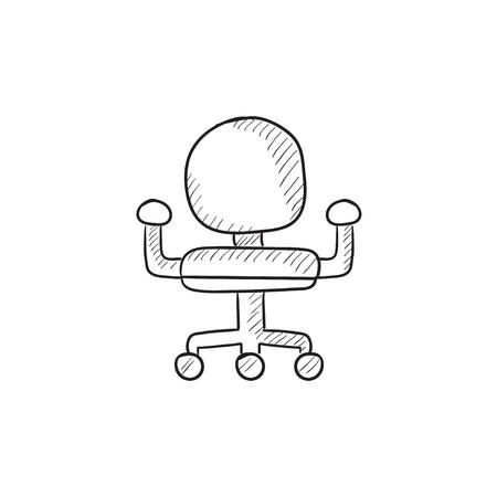 Bürostuhl gezeichnet  Bürostuhl Vektor-Skizze-Symbol Auf Hintergrund Isoliert. Hand ...