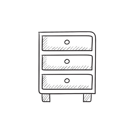 drawers: Chest of drawers vector sketch icon isolated on background. Hand drawn Chest of drawers icon. Chest of drawers sketch icon for infographic, website or app. Illustration