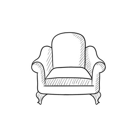 Fotel ikona wektor szkic samodzielnie na tle. Ręcznie rysowane ikony fotel. Fotel ikona szkic infografika, strony internetowej lub aplikacji.