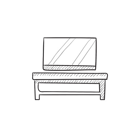 tv screen: Flat screen tv on modern tv stand vector sketch icon isolated on background. Hand drawn Flat screen tv on tv stand icon. Flat screen tv on modern tv stand sketch icon for infographic, website or app.