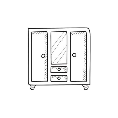 Armadio con specchio vettore icona dello schizzo isolato su sfondo. A mano Armadio disegnato con l'icona specchio. Armadio con icona dello schizzo specchio per infografica, sito web o un'applicazione. Vettoriali