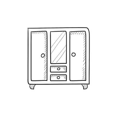 one bedroom: Wardrobe with mirror vector sketch icon isolated on background. Hand drawn Wardrobe with mirror icon. Wardrobe with mirror sketch icon for infographic, website or app.