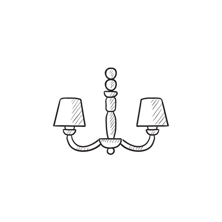 chandelier background: Chandelier vector sketch icon isolated on background. Hand drawn Chandelier icon. Chandelier sketch icon for infographic, website or app.