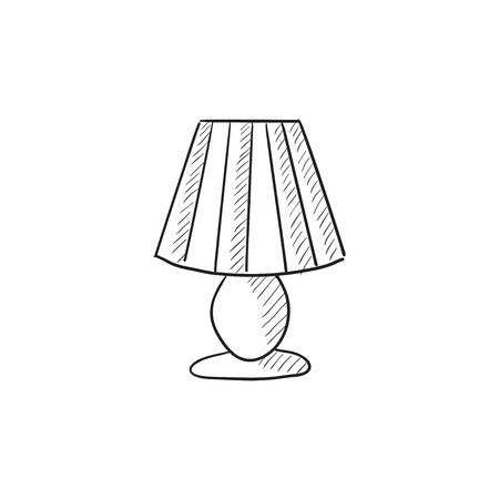 Tafellamp vector schets pictogram op een achtergrond. Hand getrokken Tafellamp icoon. Tafellamp schets pictogram voor infographic, website of app. Stock Illustratie