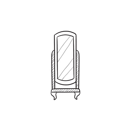 swivel: Swivel mirror on stand vector sketch icon isolated on background. Hand drawn Swivel mirror on stand icon. Swivel mirror on stand sketch icon for infographic, website or app.